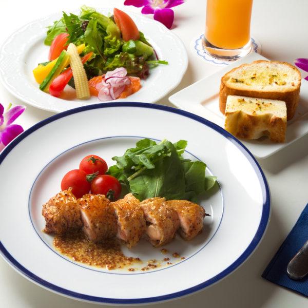 鶏もも肉の香草ローストオレンジマスタードソース